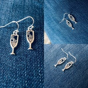 Playful Champagne Bubbly Silver Earrings NWT